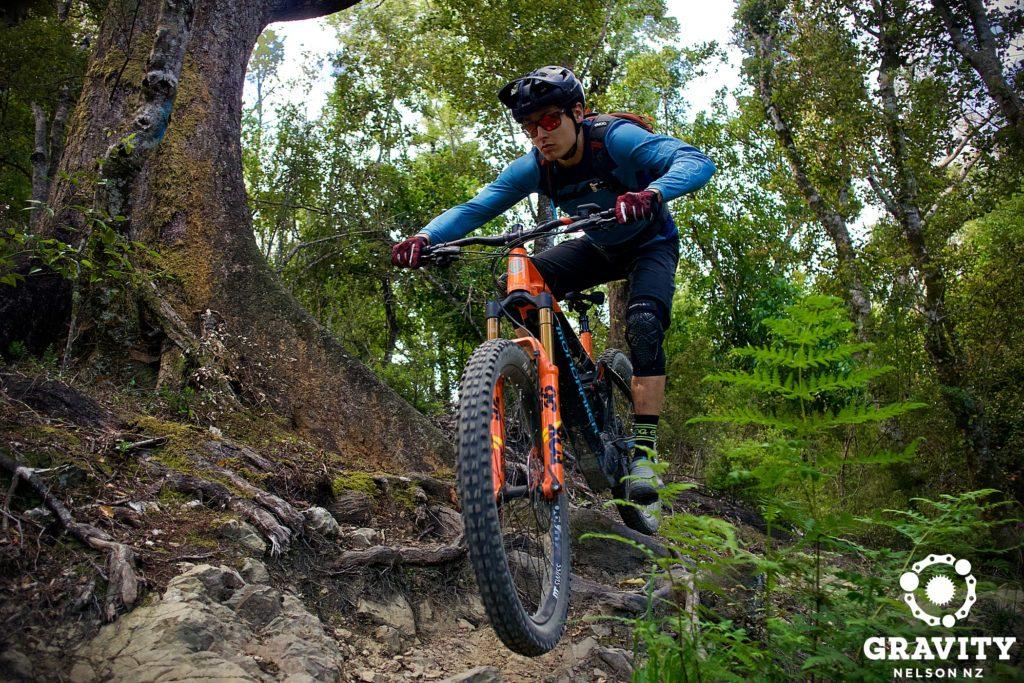 Mondraker Electric Mountain Bike in action on technical Nelson Mountain bike trails.